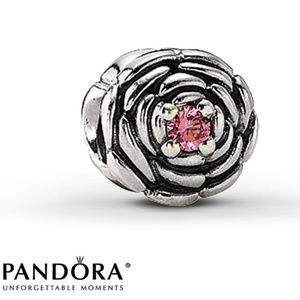 Pandora Charm Silver Rose with Pink Stone